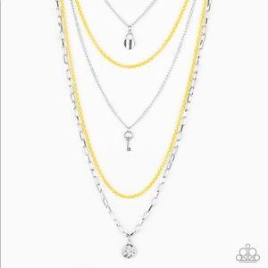 Right on Key Yellow & Silver Necklace & Earrings